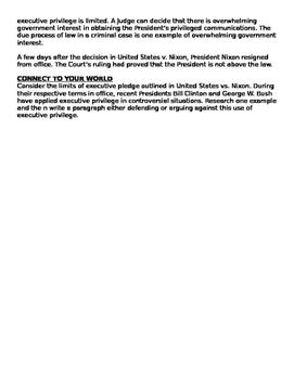 United States Vs. Nixon: WHAT ARE THE LIMITS OF EXECUTIVE PRIVILEGE?