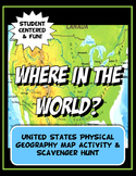 United States Where in the World Scavanger Hunt & Map Physical Geography