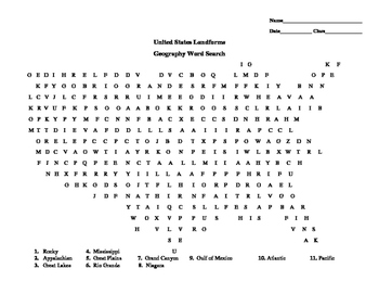 United States Word Search Landforms