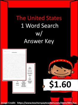 United States Word Search w/ Answer Key by Worksheet ...