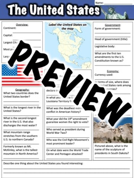 United States Worksheet