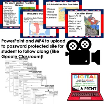 United States and Canada Interactive Guided Notes and PowerPoints, Geography