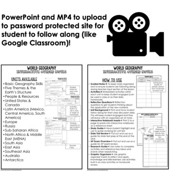 United States and Canada Guided Notes and PowerPoints, Geography