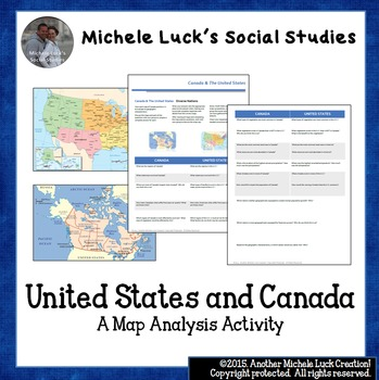 United States and Canada Map Analysis Activity U.S. Maps | TpT