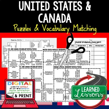 United States and Canada Vocabulary Puzzle (Print and Digital)