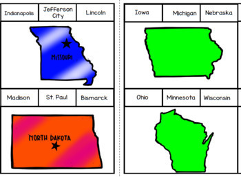 United States and Capitals Differentiated Midwest Region