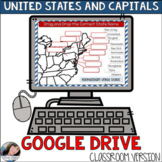 50 States and Capitals Google Drive Classroom Resource | Distance Learning