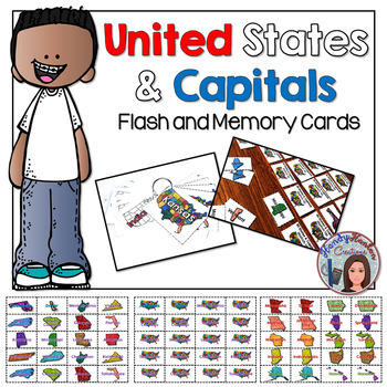 United States and Capitals Flash Cards & Matching Game