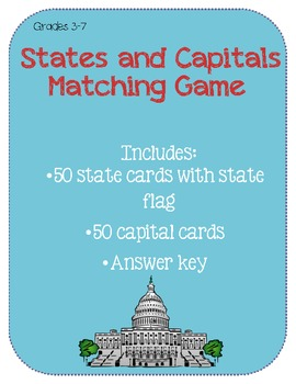 United States and Capitals Matching Game