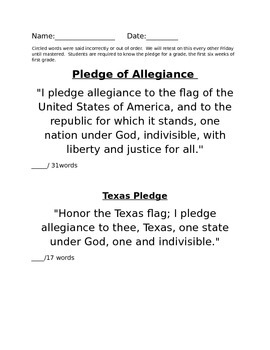 United States and Texas Pledge Assessment page (editable)