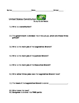 United States Constitution Study Guide Questions