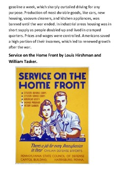 United States home front during World War II Handout
