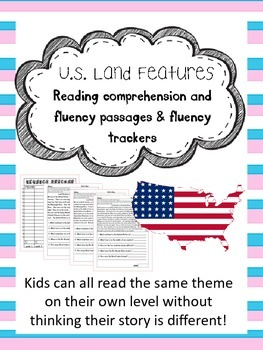 United States land features fluency and comprehension leveled passages