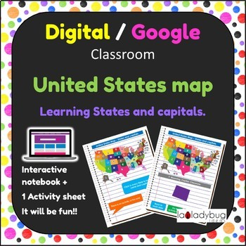 United States map. Learning States and Capital. Google classroom. Digital.