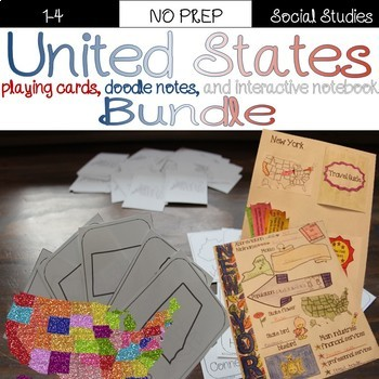 United States notes and playing card bundle