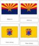 United States of America Flags: 3-Part Cards