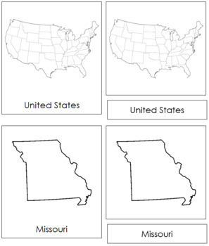 United States of America: 3-Part Cards (B/W)