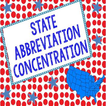State Abbreviation Concentration Matching Game