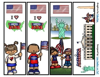 United States of America Bookmarks -  4 Designs
