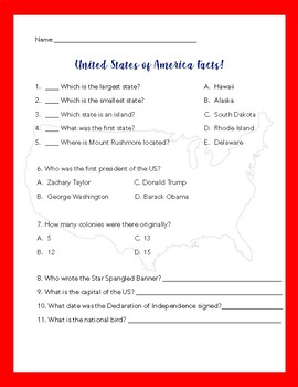 United States of America Facts Worksheet