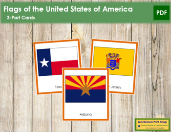 United States of America Flags: 3-Part Cards (color borders)