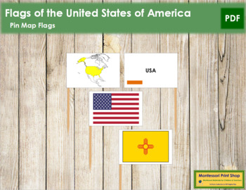 United States of America Flags - Pin Map Flags (color-coded)