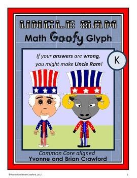 USA Math Goofy Glyph (Kindergarten Common Core)