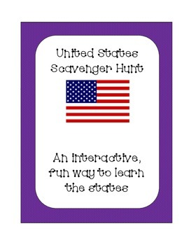 United States of America State Scavenger Hunt; Interactive and Fun