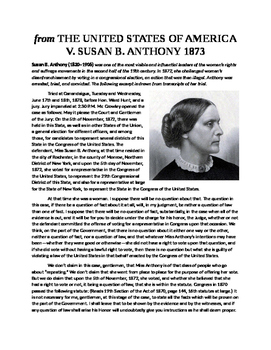 United States versus Susan B Anthony