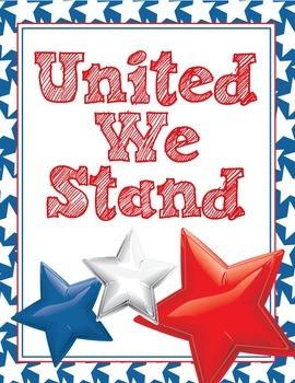 United We Stand Poster - Patriotic Stars Chevron Red, White & Blue