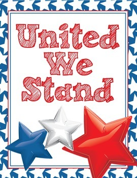 United We Stand Poster - Patriotic Stars Chevron Red, Whit