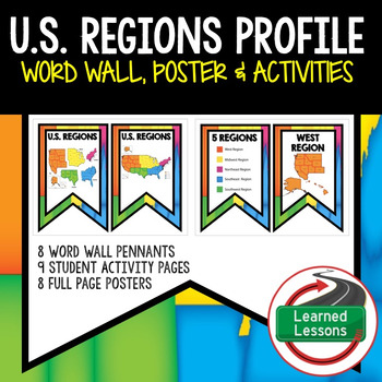 United States Regions Word Wall, Profile, Activity Pages (