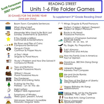 Units 1-6 File Folder Games: 3rd Grade Reading Street (2007)