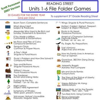 Units 1-6 File Folder Games: 3rd Grade Reading Street (2007)