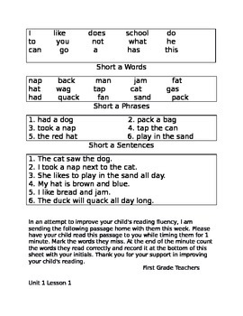 Units 1-6 Fluency Folder