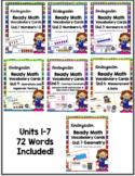 Units 1-7 Ready Math Vocabulary Cards for Kindergarten BUNDLE