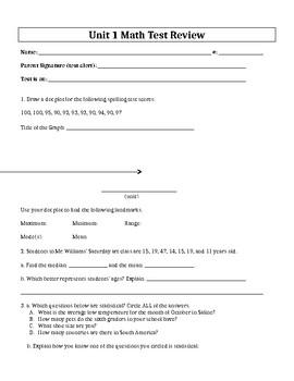Units 1-8 EDITABLE Test Reviews / Answer Keys - 6th Grade Everyday Math / EDM 4