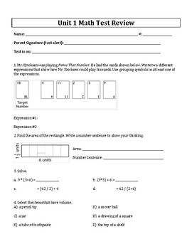 Units 1-8 Test Reviews and Answer Keys - 5th Grade Everyda