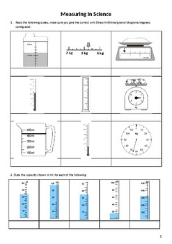 Units & Measurement Worksheet