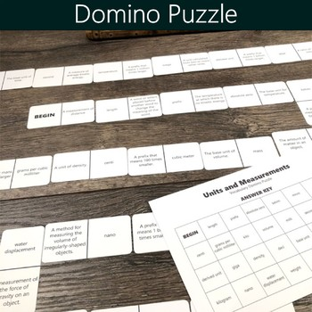 Units and Measurements Vocabulary Puzzles (Crossword, Word Search & Dominoes)