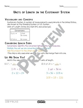 Units of Length in the Customary System Math Video and Worksheet