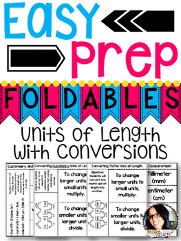 Units of Length with Conversions Foldables for Math Notebooks  5.MD.1 4.MD.1