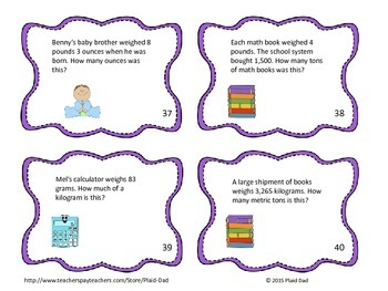 Units of Mass Word Problems Task Cards