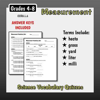 Units of Measure Vocabulary Quizzes