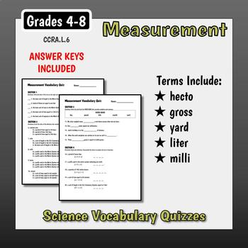 Science Vocabulary Assessments - Units of Measure