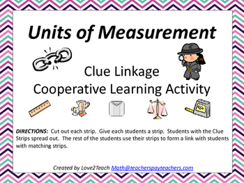 Units of Measurement Clue Linkages- A Cooperative Learning