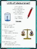 Units of Measurement Conversion Sheet