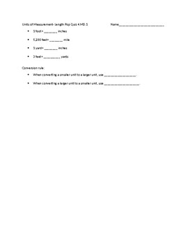 Units of Measurement Pop Quizzes 4.MD.1