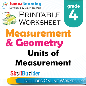 Units of Measurement Printable Worksheet, Grade 4