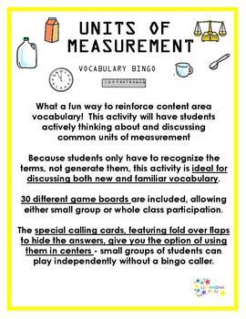 Units of Measurement Vocabulary Bingo